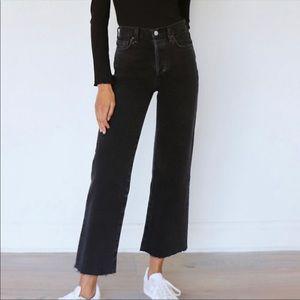 Denim Forum   The Farrah High Rise Wide Leg Jeans